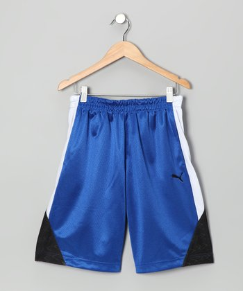 Competition Blue Slanted Shorts - Toddler & Boys