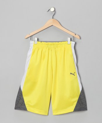 Safety Yellow Slanted Shorts - Toddler & Boys