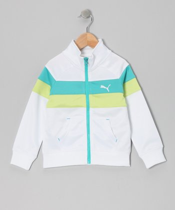 White Color Block Track Jacket - Toddler & Girls