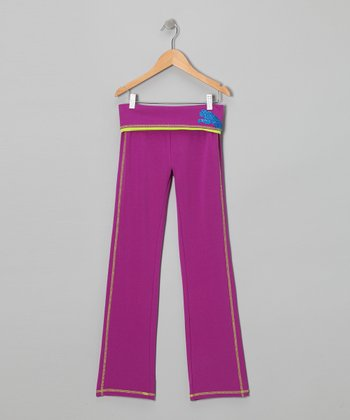 Purple Cactus Fold-Over Yoga Pants - Toddler & Girls