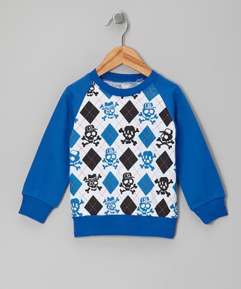 Blue Argyle Skull Raglan Sweatshirt - Toddler & Kids