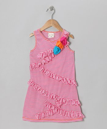 Pink Stripe Ruffle Rose Dress - Girls