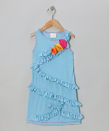 Turquoise Stripe Ruffle Rose Dress - Girls