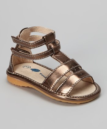 Brown Metallic Squeaker Sandal