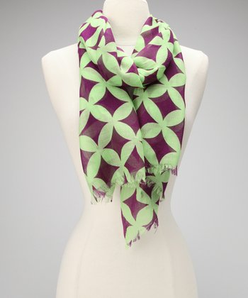 Purple & Green Hot & Sour Groovy Wool Scarf