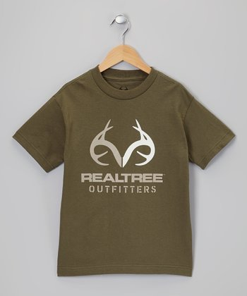 Military Green Logo Tee - Boys