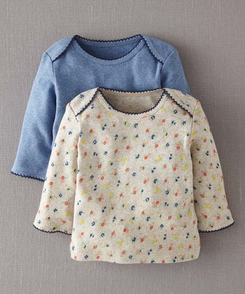 Oatmeal Spring Ditsy & Blue Marl Pointelle Tee Set - Infant