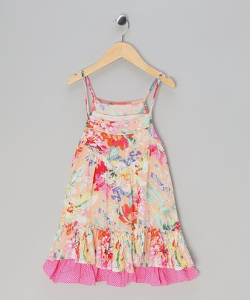 Pink Floral Ruffle Dress - Toddler & Girls