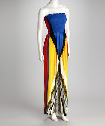 Blue & Yellow Color Block Shirred Maxi Dress