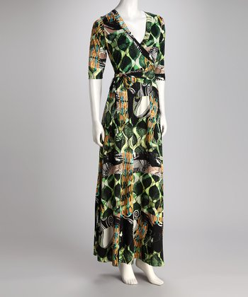 Green & Black Abstract Faux Wrap Maxi Dress