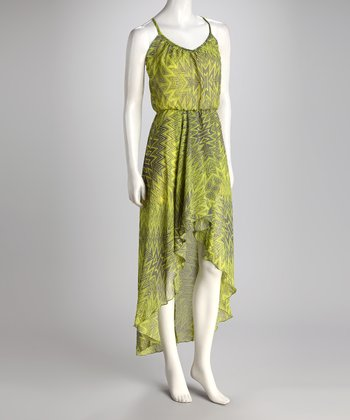 Gray & Lime Abstract Hi-Low Dress