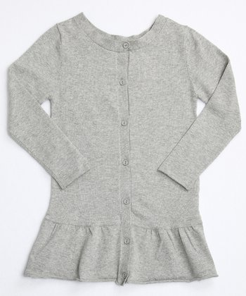 Heathery Gray Frill Bottom Cardigan