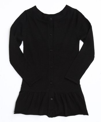 Black Frill Bottom Cardigan