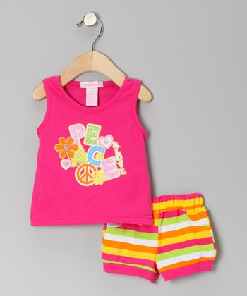 Fuchsia 'Peace' Tank & Shorts - Toddler