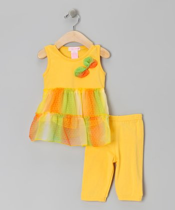 Yellow Bow Ruffle Tunic & Leggings - Toddler
