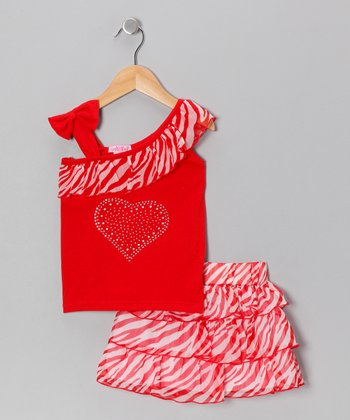 Red Zebra Asymmetrical Top & Skirt - Infant & Toddler