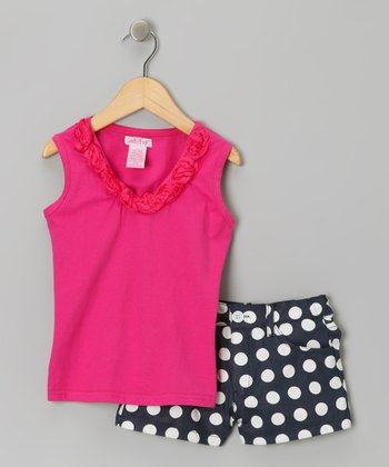 Fuchsia Polka Dot Ruffle Top & Twill Shorts - Infant & Toddler
