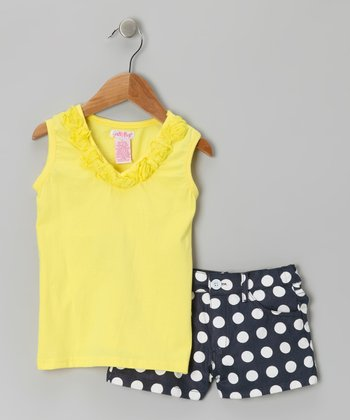 Gold Polka Dot Ruffle Top & Twill Shorts - Infant & Toddler
