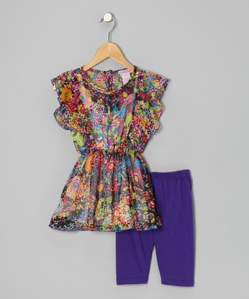 Purple Floral Watercolor Tunic Set - Toddler