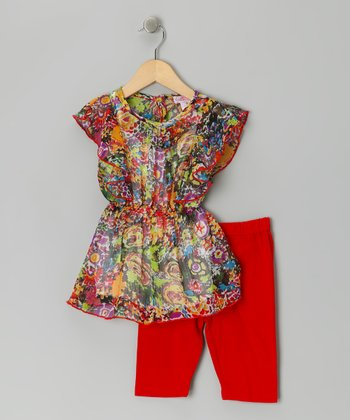 Red Floral Watercolor Tunic Set - Toddler