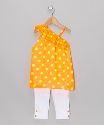 Neon Orange Polka Dot Tunic & Leggings - Infant, Toddler & Girls