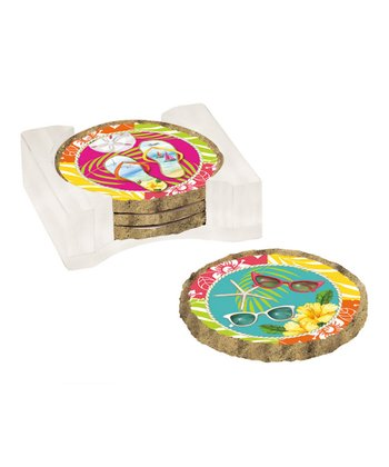 Fun in the Sun Absorbent Coaster Set & Caddy