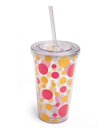 Pink & Orange Polka Dot 17-Oz. Insulated Tumbler
