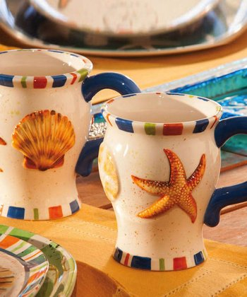 Coastal Brush Ceramic Mug Set