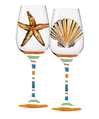 Coastal Brush Wine Glass Set