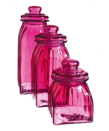 Pink Glass Jar Set
