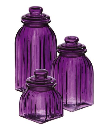 Purple Glass Jar Set