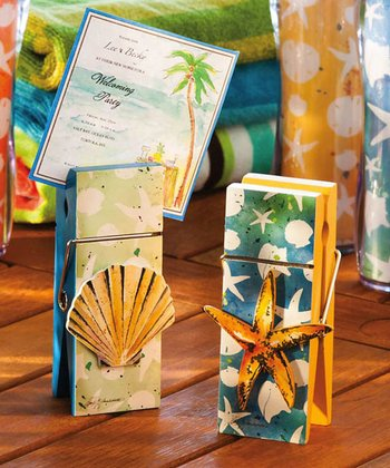 Coastal Brush Clothespin Photo Holder Set