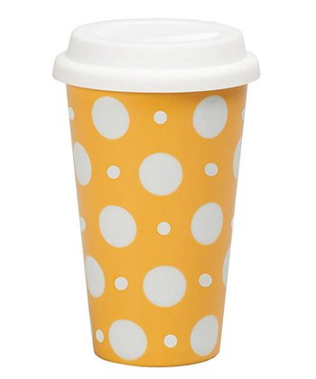 Yellow Polka Dot 10-Oz. Travel Mug