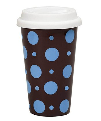 Blue & Brown Polka Dot 10-Oz. Travel Mug
