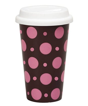 Pink & Brown Polka Dot 10-Oz. Travel Mug