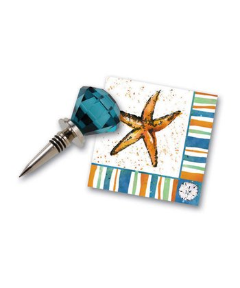 Coastal Brush Wine Stopper & Napkin Set