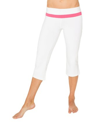 Optic White & Paradise Pink Libra Capri Pants
