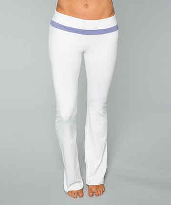 Optic White & Hyacinth Purple Libra Yoga Pants