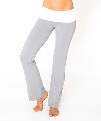 Frost Gray and Optic White Leo Fold-Over Yoga Pants