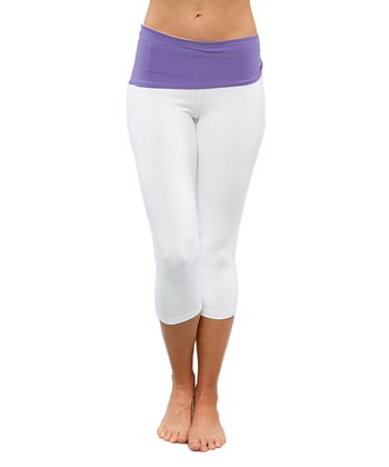 Optic White & Dusky Violet Pisces Capri Leggings