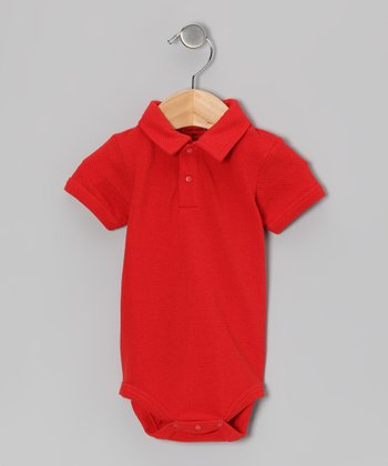 Apple Red Organic Polo Bodysuit