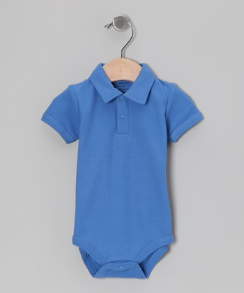 Cobalt Blue Organic Polo Bodysuit - Infant
