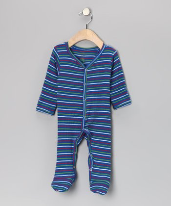 Red & Blue Stripe Thermal Organic Footie - Infant