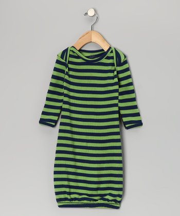 Green & Navy Stripe Thermal Organic Gown