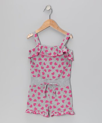 Gray & Fuchsia Heart Romper - Toddler & Girls