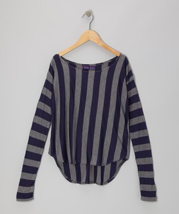 Navy & Gray Stripe Hi-Low Tee
