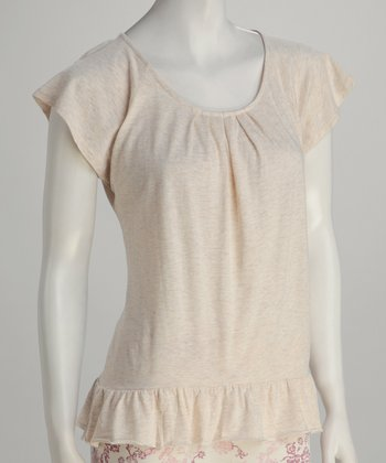 Heather Ivory Ruffle Top