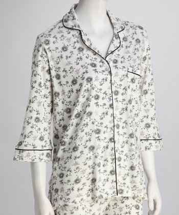 Black & White Three-Quarter Sleeve Sleepshirt