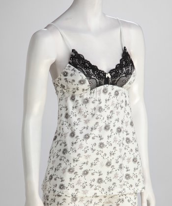 Black & White Lace-Trim Camisole