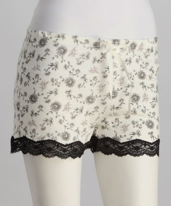 Black & White Lace-Trim Boxers